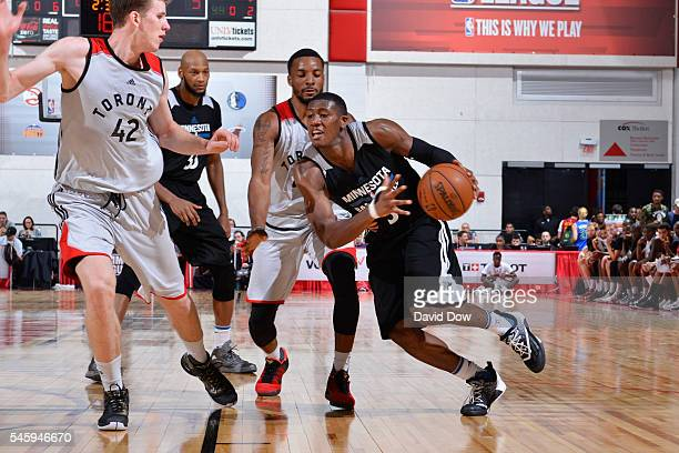 Kris Dunn of the Minnesota Timberwolves drives to the basket against the Toronto Raptors during the 2016 Las Vegas Summer League on July 10 2016 at...