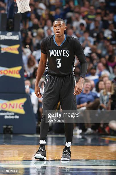 Kris Dunn of the Minnesota Timberwolves looks on during a game against the Memphis Grizzlies on October 26 2016 at FedExForum in Memphis Tennessee...