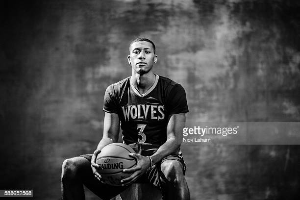 Kris Dunn of the Minnesota Timberwolves poses for a portrait during the 2016 NBA Rookie Photoshoot at Madison Square Garden Training Center on August...