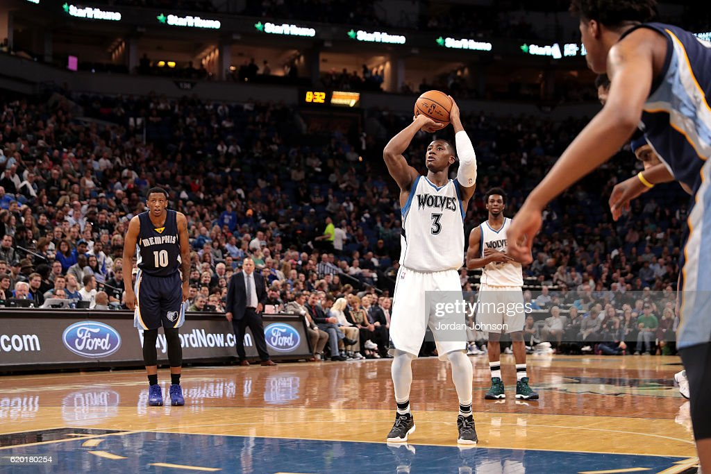 Kris Dunn #3 of the Minnesota Timberwolves shoots a free throw during the game against the Memphis Grizzlies on November 1, 2016 at Target Center in Minneapolis, Minnesota.