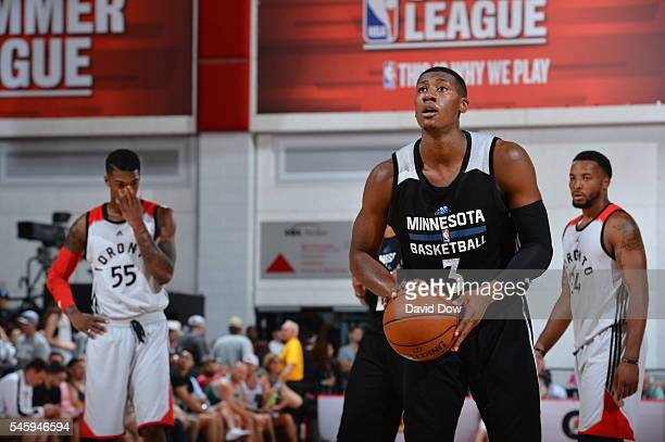 Kris Dunn of the Minnesota Timberwolves shoots against the Toronto Raptors during the 2016 Las Vegas Summer League on July 10 2016 at Cox Pavillon in...