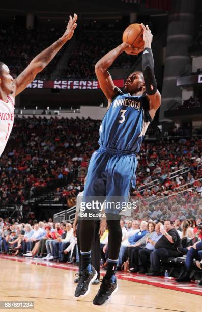 Kris Dunn of the Minnesota Timberwolves shoots the ball against the Houston Rockets during the game on April 12 2017 at the Toyota Center in Houston...