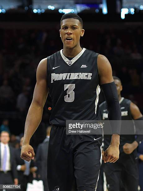 Kris Dunn of the Providence Friars reacts after putting the Friars up late in the second half against the Villanova Wildcats at the Wells Fargo...