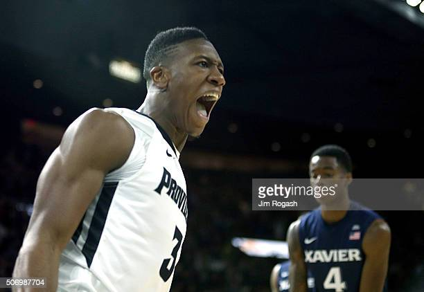 Kris Dunn of the Providence Friars reacts against the Xavier Musketeers in the first half on January 26 at the Dunkin' Donuts Center in Providence...
