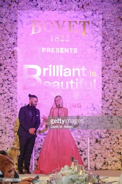 Kris Fade and Caroline Stanbury attends the Artists for Peace and Justice Bovet 1822 Gala on December 7 2018 in Dubai United Arab Emirates Photo by...