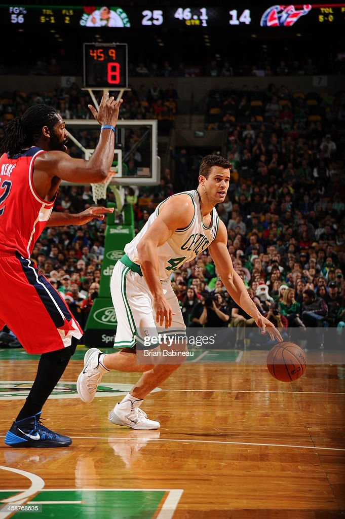 Kris Humphries #43 of the Boston Celtics drives to the basket against the Washington Wizards on December 21, 2013 at the TD Garden in Boston, Massachusetts.