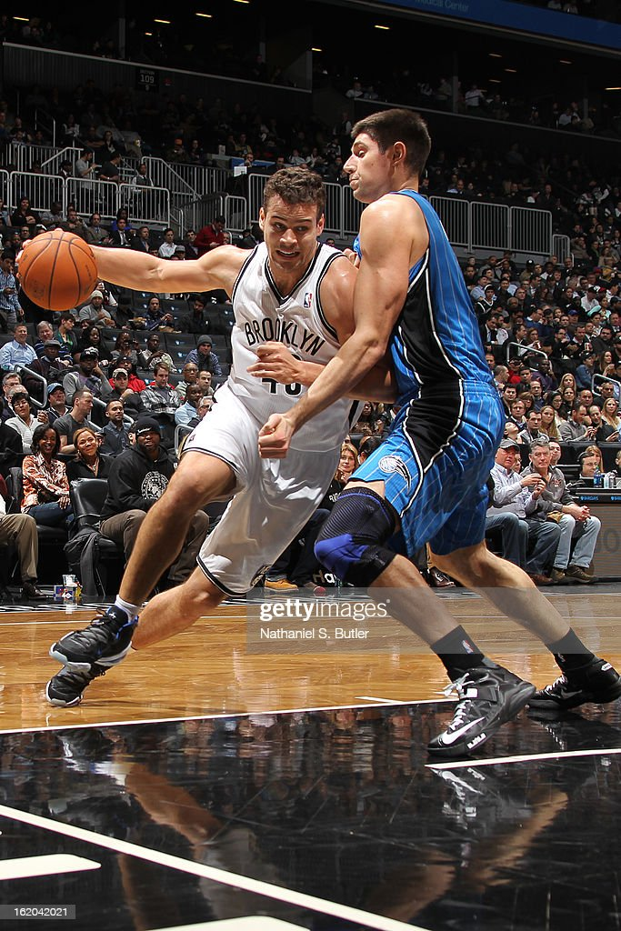 Kris Humphries #43 of the Brooklyn Nets drives to the basket against the Orlando Magic on January 28, 2013 at the Barclays Center in the Brooklyn borough of New York City.
