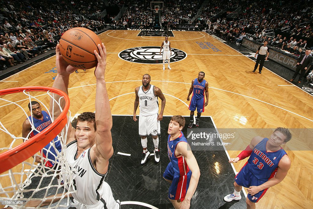 Kris Humphries #43 of the Brooklyn Nets dunks against the Detroit Pistons on April 17, 2013 at the Barclays Center in the Brooklyn borough of New York City.