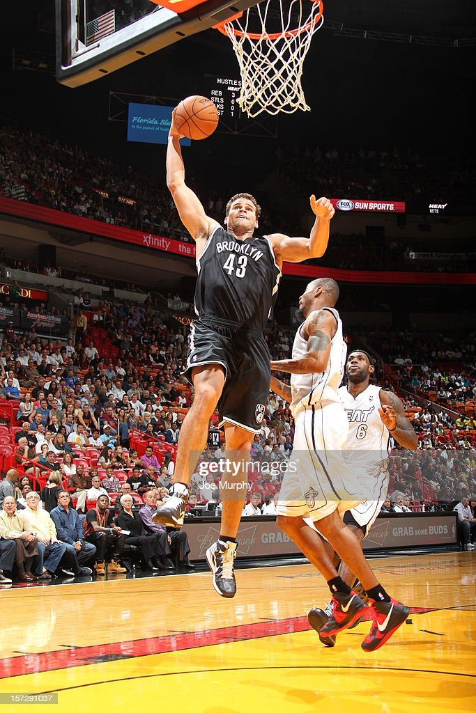 Kris Humphries #43 of the Brooklyn Nets goes for a dunk during a game on December 1, 2012 at American Airlines Arena in Miami, Florida.