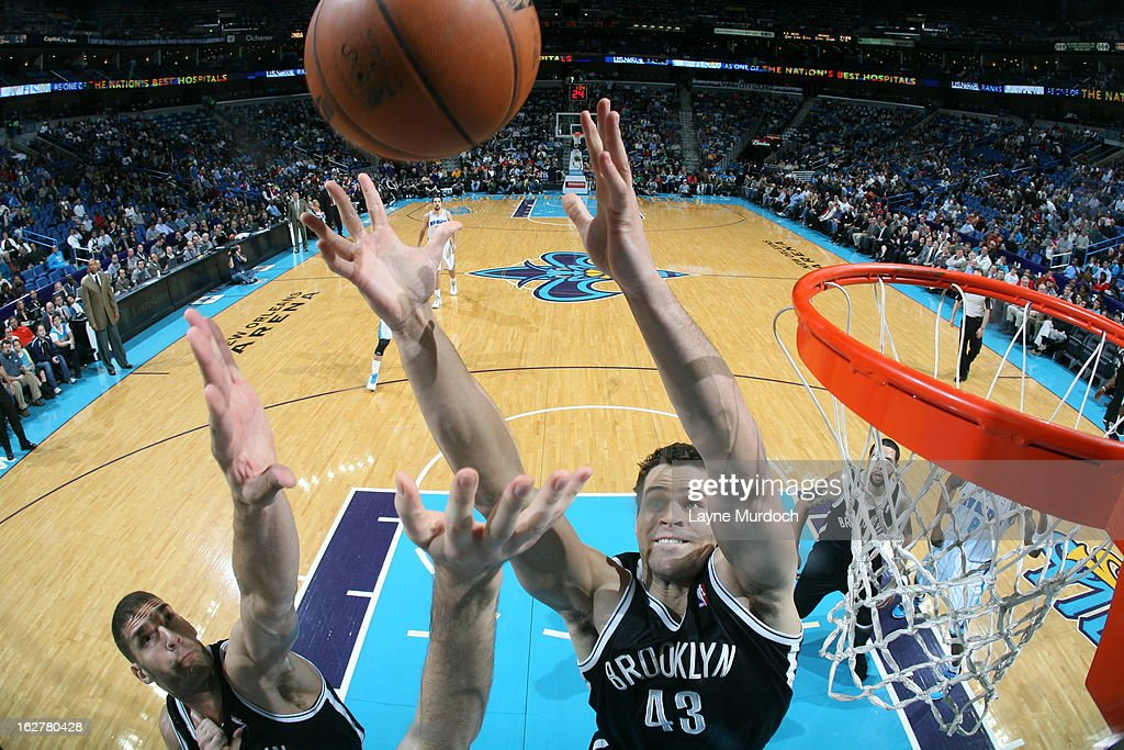Kris Humphries #43 of the Brooklyn Nets goes up for a rebound against the New Orleans Hornets on February 26, 2013 at the New Orleans Arena in New Orleans, Louisiana.