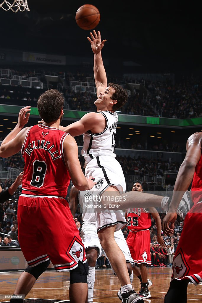 Kris Humphries #43 of the Brooklyn Nets puts up a shot against the Chicago Bulls during the Game Seven of the Eastern Conference Quarterfinals during the 2013 NBA Playoffs at the Barclays Center on May 4, 2013 in the Brooklyn borough of New York City.