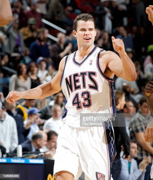 Kris Humphries of the New Jersey Nets during the game against the New Orleans Hornets on February 9 2011 at the Prudential Center in Newark New...