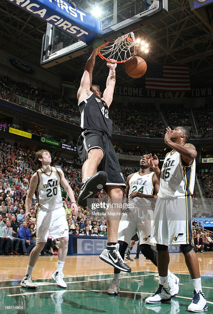 Kris Humprhries #43 of the Brooklyn Nets dunks against the Utah Jazz at Energy Solutions Arena on March 30, 2013 in Salt Lake City, Utah.