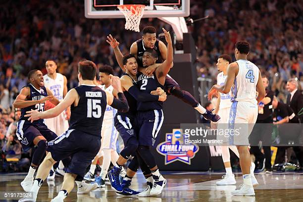 Kris Jenkins of the Villanova Wildcats celebrates after making the gamewinning three pointer to defeat the North Carolina Tar Heels 7774 in the 2016...