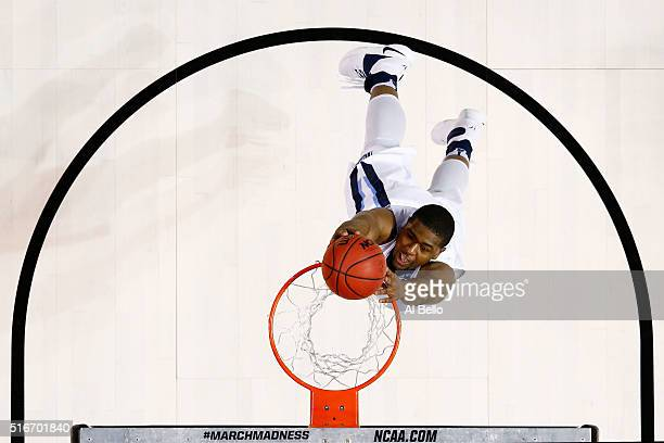 Kris Jenkins of the Villanova Wildcats dunks against the Iowa Hawkeyes in the first half during the second round of the 2016 NCAA Men's Basketball...