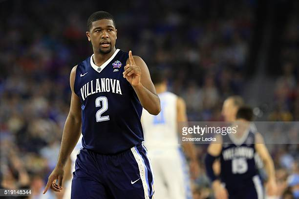 Kris Jenkins of the Villanova Wildcats reacts in the first half against the North Carolina Tar Heels during the 2016 NCAA Men's Final Four National...
