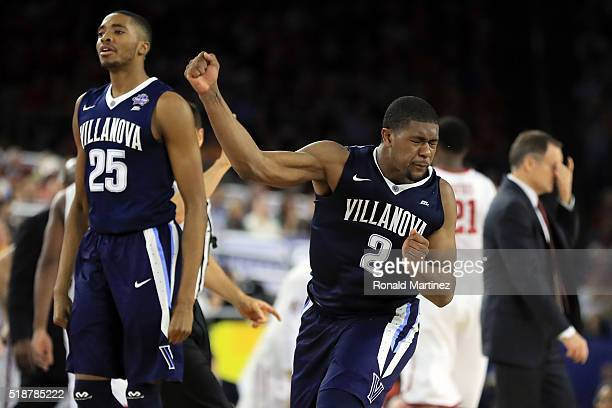 Kris Jenkins of the Villanova Wildcats reacts in the second half against the Oklahoma Sooners as Mikal Bridges looks on during the NCAA Men's Final...