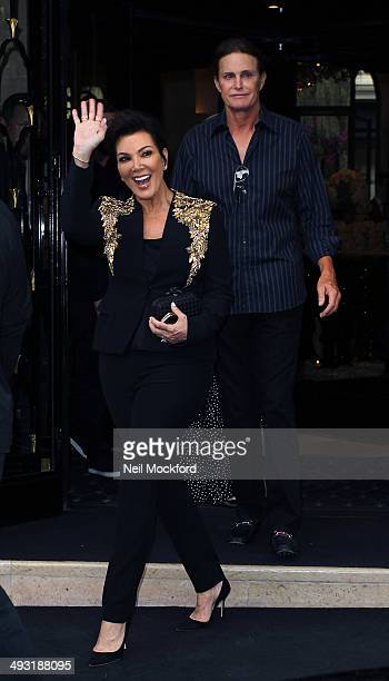 Kris Jenner and Bruce Jenner seen leaving the Four Seasons George V Hotel on May 22 2014 in Paris France