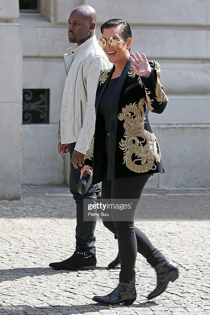 Kris Jenner and Corey Gamble attend the Balmain Menswear Spring/Summer 2016 show as part of Paris Fashion Week on June 27, 2015 in Paris, France.