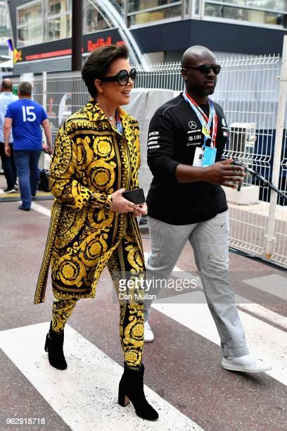 Kris Jenner and Corey Gamble walk in the Paddock before the Monaco Formula One Grand Prix at Circuit de Monaco on May 27 2018 in MonteCarlo Monaco
