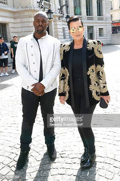 Kris Jenner and her companion Corey Gamble attend the Balmain Menswear Spring/Summer 2016 show as part of Paris Fashion Week on June 27 2015 in Paris...