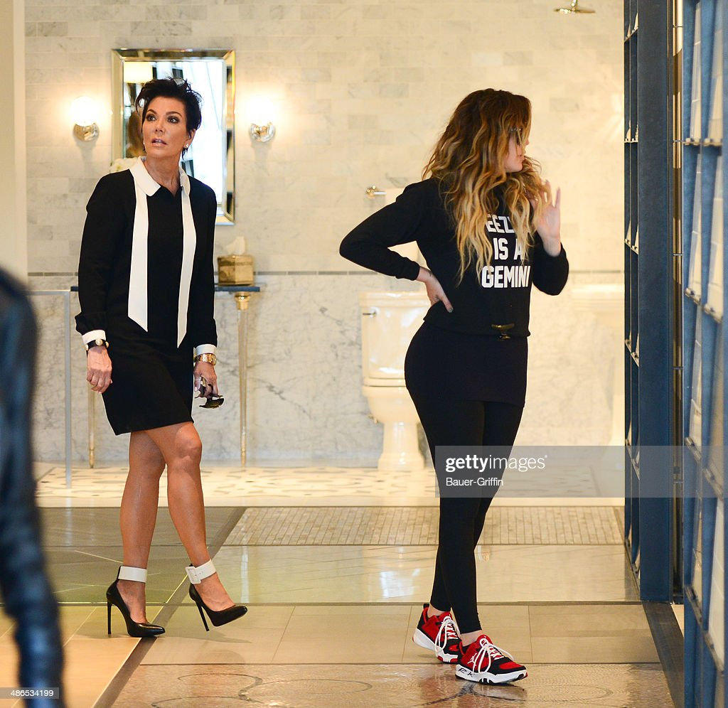 Kris Jenner and Khloe Kardashian are seen on April 24, 2014 in Los Angeles, California.