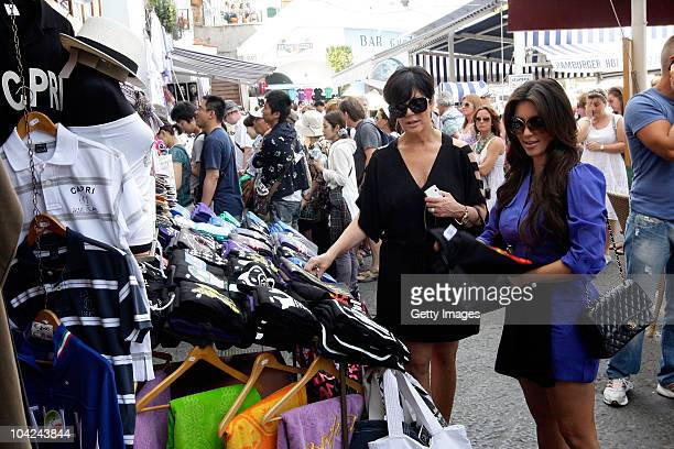 Kris Jenner and Kim Kardashian are seen shopping at the pier market on September 18 2010 in Capri Italy