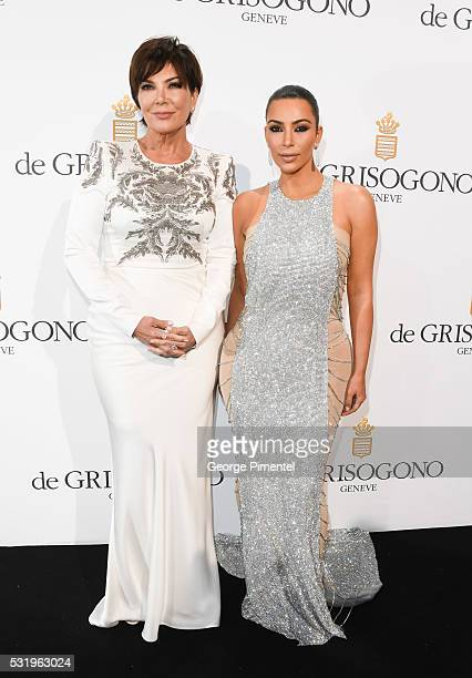Kris Jenner and Kim Kardashian attend the De Grisogono Party at the annual 69th Cannes Film Festival at Hotel du CapEdenRoc on May 17 2016 in Cap...