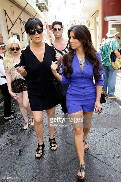 Kris Jenner and Kim Kardashian depart the Quisisana Hotel on September 18 2010 in Capri Italy