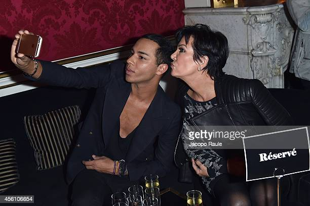 Kris Jenner and Olivier Rousteing attend 'Balmain' After Party on September 25 2014 in Paris France