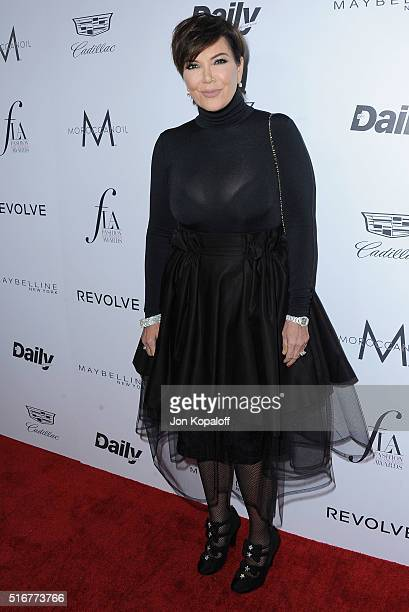 Kris Jenner arrives at The Daily Front Row 'Fashion Los Angeles Awards' 2016 at Sunset Tower Hotel on March 20 2016 in West Hollywood California