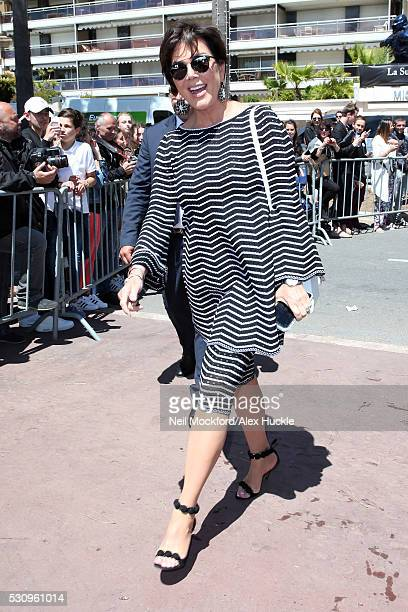 Kris Jenner arrives at the Magnum Beach for a press conference during the 69th Annual Cannes Film Festival on May 12 2016 in Cannes France