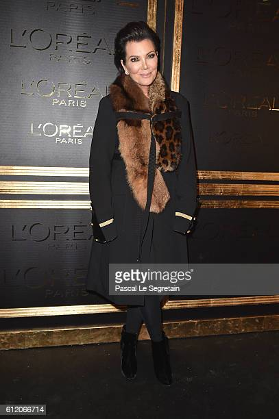 Kris Jenner attends the Gold Obsession Party L'Oreal Paris Photocall as part of the Paris Fashion Week Womenswear Spring/Summer 2017 on October 2...
