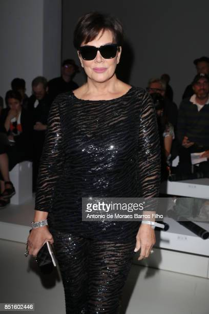 Kris Jenner attends the Versace show during Milan Fashion Week Spring/Summer 2018 on September 22 2017 in Milan Italy