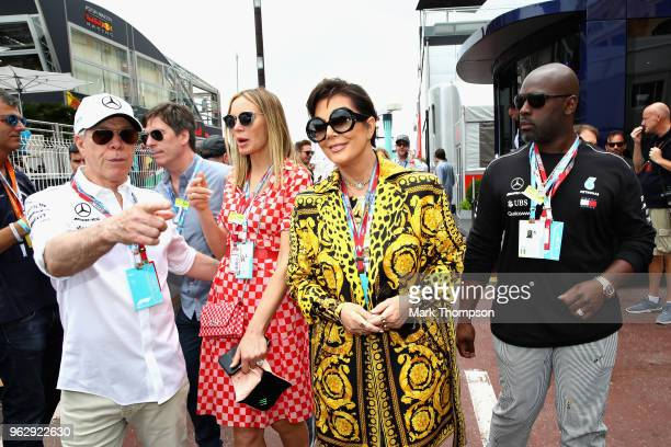 Kris Jenner Corey Gamble Tommy Hilfiger and Dee Ocleppo in the Paddock before the Monaco Formula One Grand Prix at Circuit de Monaco on May 27 2018...