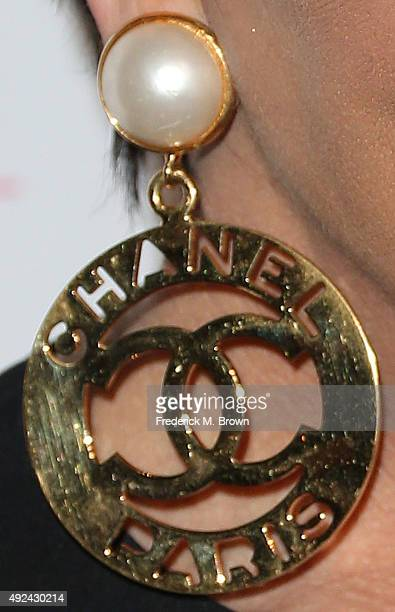 Kris Jenner earring detail attends Cosmopolitan's 50th Birthday Celebration at Ysabel on October 12 2015 in West Hollywood California
