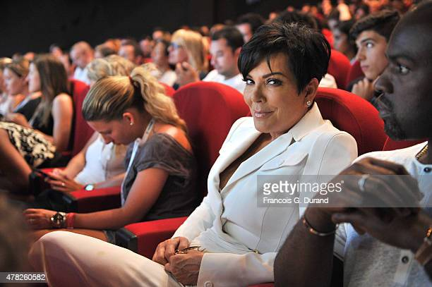 Kris Jenner in the audience as daughter Kim Kardashian speaks on stage during the Sudler seminar as part of the Cannes Lions International Festival...