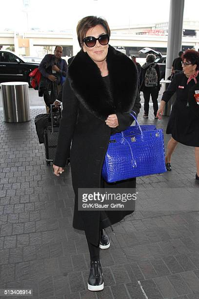 Kris Jenner is seen at LAX on March 02 2016 in Los Angeles California