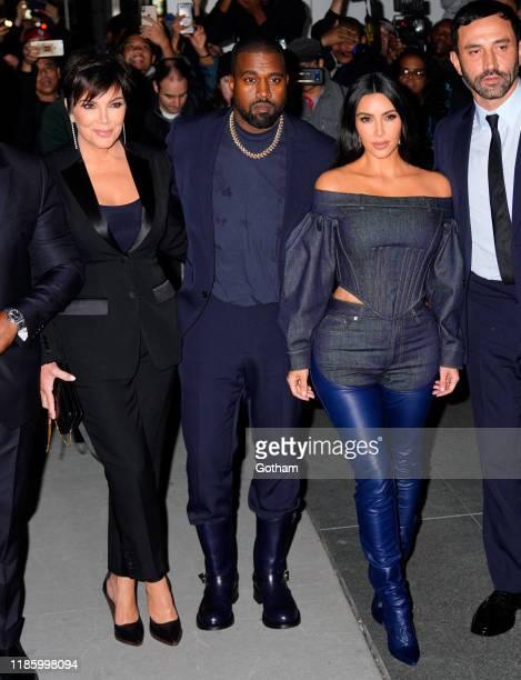 Kris Jenner, Kanye West and Kim Kardashian are seen on November 06, 2019 in New York City.