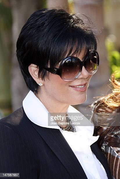 Kris Jenner Kardashian attends the unveiling of Khloe Kardashian's PETA Fur I'd Rather Go Naked Billboard on December 10 2008 in West Hollywood...