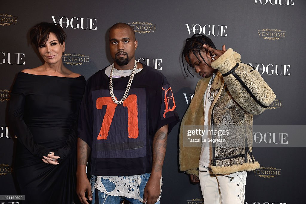 Kris Jenner, Kayne West and Travis Scott attend the Vogue 95th Anniversary Party on October 3, 2015 in Paris, France.