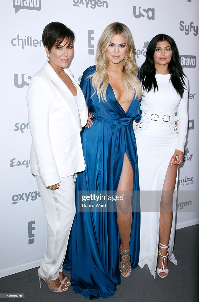 Kris Jenner, Khloe Kardashian and Kylie Jenner appear during the 2015 NBCUniversal Cable Entertainment Upfront at The Jacob K. Javits Convention Center on May 14, 2015 in New York City.