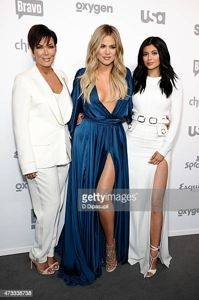 Kris Jenner Khloe Kardashian and Kylie Jenner attend the 2015 NBCUniversal Cable Entertainment Upfront at The Jacob K Javits Convention Center on May...