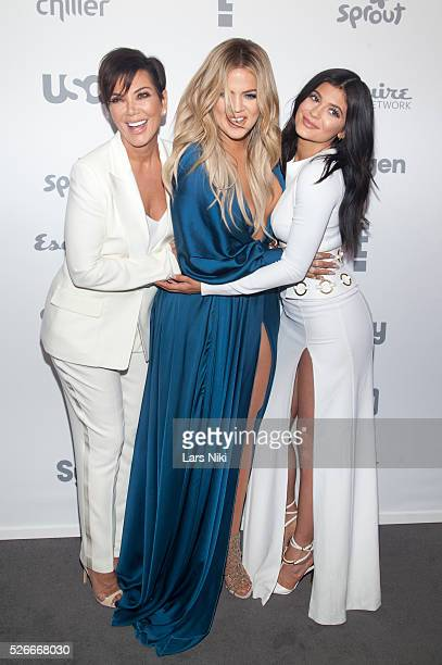 Kris Jenner Khloe Kardashian and Kylie Jenner attend the 2015 NBCUniversal Cable Entertainment Upfront at the Jacob K Javits Convention Center in New...