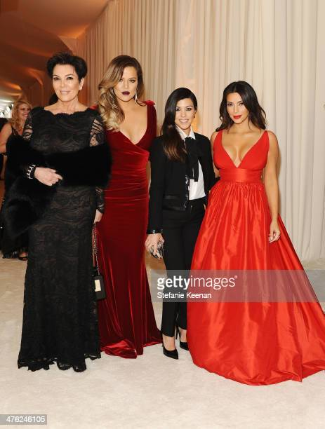 Kris Jenner Khloe Kardashian Kourtney Kardashian and Kim Kardashian attend the 22nd Annual Elton John AIDS Foundation Academy Awards viewing party...