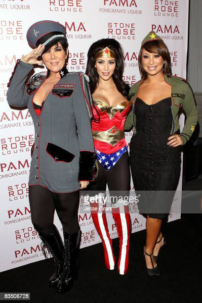 Kris Jenner, Kim Kardashian and Cheryl Burke arrive at Kim Kardashian's Halloween party hosted by PAMA at Stone Rose on October 30, 2008 in Los...