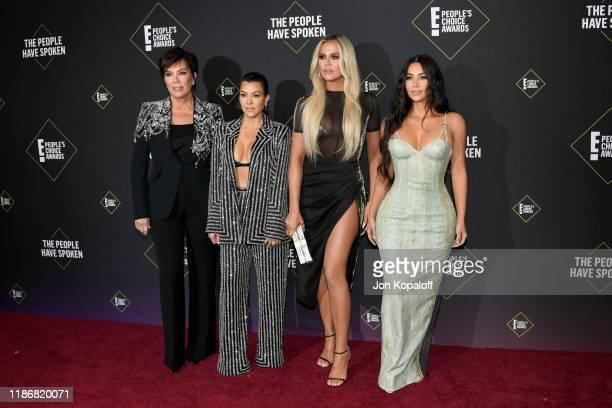 Kris Jenner, Kourtney Kardashian, Khloé Kardashian and Kim Kardashian attend`Kim Kardashian the 2019 E! People's Choice Awards at Barker Hangar on...