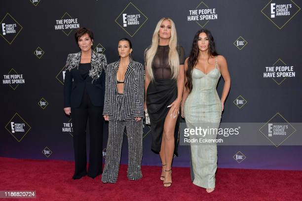 Kris Jenner Kourtney Kardashian Khloé Kardashian and Kim Kardashian attend the 2019 E People's Choice Awards at Barker Hangar on November 10 2019 in...