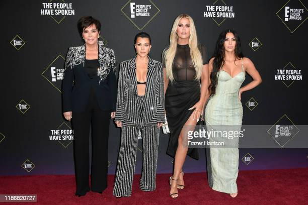 Kris Jenner, Kourtney Kardashian, Khloé Kardashian and Kim Kardashian attend`Kim Kardashian the 2019 E! People's Choice Awards at Barker Hangar on...