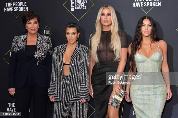 Kris Jenner Kourtney Kardashian Khloé Kardashian and Kim Kardashian attend`Kim Kardashian the 2019 E People's Choice Awards at Barker Hangar on...